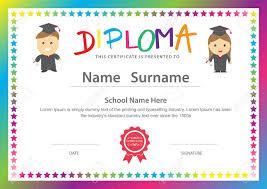 Preschool Kids Elementary School Diploma Certificate Design