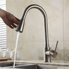 aliexpress com kitchen faucets brass brushed nickel 1 hole kitchen sink faucet single lever pull out rotate spray deck mixer tap crane 408906sn from