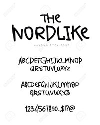 白い背景のおしゃれなモダンなベクター フォントです大文字し小文字の文字数字および記号レタリン