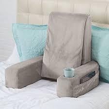 Massaging Bed Rest Pillow Cup Holder Pocket High Back Neck
