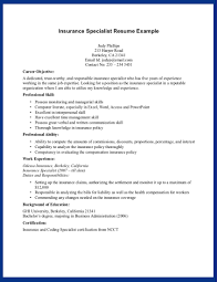 Sample Career Objective Insurance Specialist Resume Example