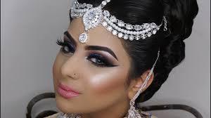 dramatic blue smokey eyes asian bridal makeup photoshoot