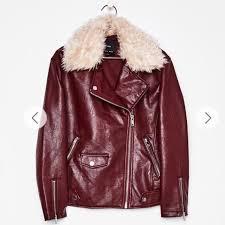bershka red faux leather jacket women s fashion clothes outerwear on carou