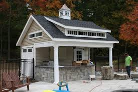 outdoor kitchen being constructed under an overhang on a pool house by kloter farms