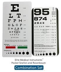 Emi Pocket Eye Chart Set Snellen Rosenbaum Pocket Eye Charts 2 Pieces Ec Psr