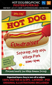 Bbq Fundraiser Flyer Hot Dog Bbq Picnic Event Poster Flyer Or Adthis Tasty Poster