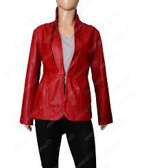 womens stylish red leather jacket