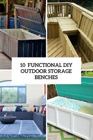 functional diy outdoor storage benches cover