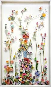 Flower Pressed Paper Recycled Materials Form Ornate Flower Sculptures