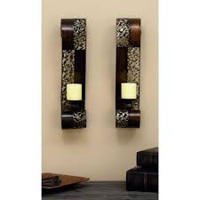 litton lane pierced leaf wall sconce candle holders set of 2