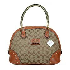 Coach Madison Stud In Monogram Medium Brown Satchels BRO Outlet Online