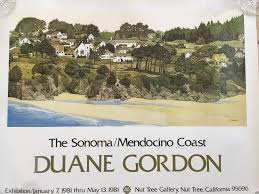 "1981 The Sonoma/Mendocino Coast Duane Gordon Exhibition Poster, 30"" x 24"" |  Mendocino coast, Exhibition poster, Mendocino"