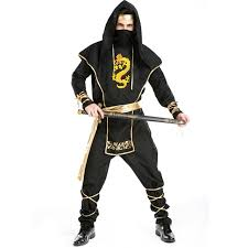 Superior Free Shipping Halloween Cool Adult Men Black Gold Ninja Samurai Cosplay  Costume Stage Performance Or Masquerade Party Costume