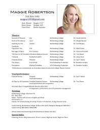 Resume For Acting Audition Awesome Audition Resume Template Best