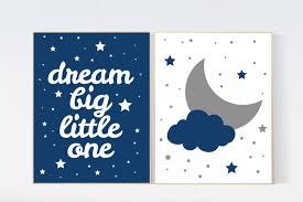 baby boy nursery set moon and stars nursery navy blue nursery decor dream big little one art print baby boy nursery navy gray nursery