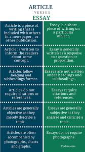 difference between article and essay