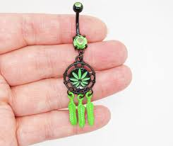 Dream Catcher Belly Button Rings Dream Catcher Belly Button Ring Green Feather Belly Button Ring 28