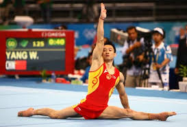 yang wei of china performs on the floor during gymnastics artistic men s individual all around final of beijing 2008 olympic games at national indoor