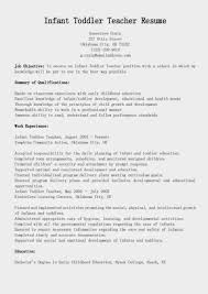 infant teacher resumes