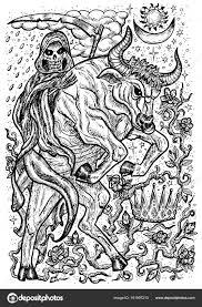 Bull Symbol Death Skeleton Crown Mystic Signs Fantasy Vector
