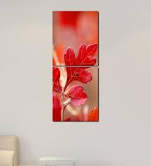multiple frames red leaves art panels like painting 2 frames by 999