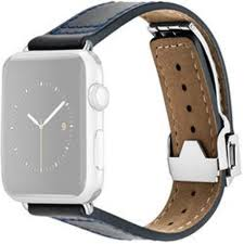 monowear deployant leather band for 42mm apple watch navy silver hardware