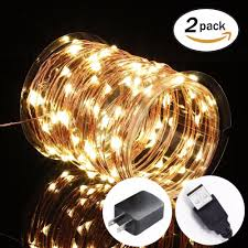 White Indoor Fairy Lights Us 19 28 18 Off 2 Pack Fairy Lights Usb Plug In 33ft 100 Led Warm White Waterproof Starry String Lights For Bedroom Indoor Outdoor Decorative In