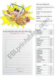 Shopping List Esl Worksheet By Kirstyjay