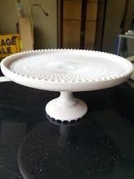 vintage pink milk glass cake stand