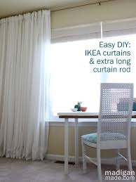 how to make your own extra long curtain rod to hang wall to wall curtains