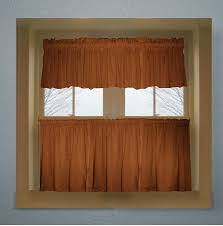 solid rust colored café style curtain includes 2 valances and 2 kitchen curtain panels in many custom lengths
