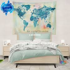 watercolor world map wall tapestry grunge world map wall tapestry