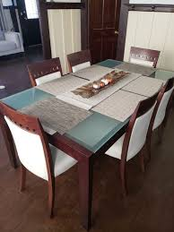 Frosted glass dining table White Leather Chair Frosted Glass Dining Table And Six Chairs Offerup Frosted Glass Dining Table And Six Chairs For Sale In San Diego Ca