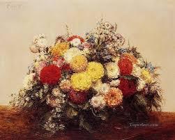 large vase of dahlias and assorted flowers flower painter henri fantin latour oil paintings