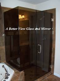 3 8 bronze glass frameless glass shower door with inline glass panel and 90 degree