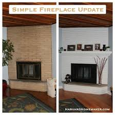 basically what i m already doing simple fireplace update just paint the brick add the mantle and use fire resistant black spray paint to update the