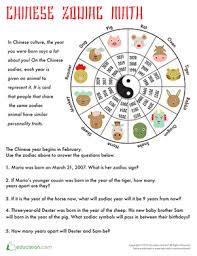 Chinese Zodiac Math Worksheet Education Com