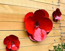 giant wall hanging poppy set of 3 red metal flowers perfect wall or privacy fence accent outdoor metal wall art huge outdoor flowers on very large outdoor metal wall art with outdoor metal wall art etsy