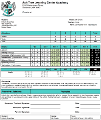 Student Report Card Template Ash Tree Learning Center Academy Report Card Template