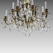 vintage swedish chandelier brass crystal 10 lights