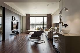 modern apartment living room ideas black. Living Room, Interior Design Apartment Wooden Laminate Flooring Mirror With Frame Sideboard Glass Curtain Walls Modern Room Ideas Black O