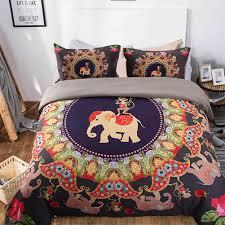 monkey elephant print mandala duvet cover set colorful bohemian bedding set queen size boho bed set item no 451131