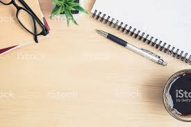 office table top view. Perfect View Table Top View Of Office Desk On Wooden Foto De Stock Libre Derechos Inside Office Top View E