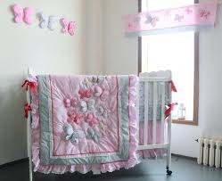gray crib bedding sets me pink erfly pattern girl baby bedding cotton crib bedding set quilt