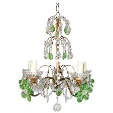 french green and clear crystal prisms flowers chandelier circa 1920 for