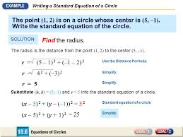 writing a standard equation of a circle the point 1 2 is on