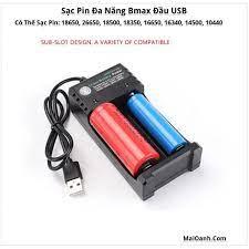 Sạc Pin 18650 Bmax Đầu USB - Sạc 2 Pin (2 Khe) - Pin và dụng cụ sạc pin  Nhãn hàng No brand