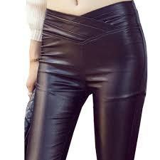 pu faux leather pants women red black mid elastic waist pencil pants female trousers skinny leggings plus size gpxj53890