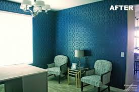 A DIY stenciled office using the Iron Gate Allover Stencil pattern in tone  on tone navy