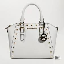 nwt 328 michael kors ciara white saffiano leather studded satchel cross bag
